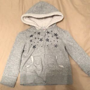 Heather Gray Zipper Hoodie with ⭐️ stars